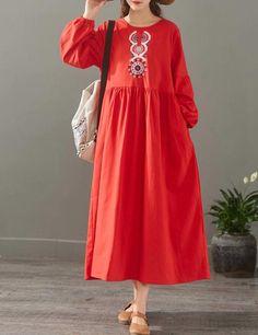 Elegant Pure Color Embroidery Cotton Maxi Dresses For Women 1523 Maxi Dresses, Short Dresses, Sunday Dress, Kurta Designs Women, Maxi Styles, Faux Wrap Dress, Simple Dresses, Vintage Dresses, Fashion Outfits