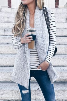 - sweater vest over striped tee Fall outfit inspiration Sweater Vest Outfit, Long Sweater Vest, Vest Outfits, Cute Outfits, Fashion Outfits, Fashion Vest, Suit Vest, Classic Outfits, Long Sweaters