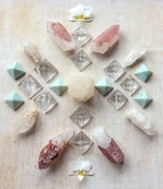 Hematoid Quartz, Candle Quartz, Amazonite and Orchids Crystal Grid by Woodlights Woudlicht