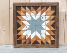 barn quilt block salvaged wood wall art by IlluminativeHarvest Wooden Barn, Wooden Wall Art, Wood Wall, Star Quilt Blocks, Star Quilts, Wood Mosaic, Salvaged Wood, Pattern Art, Wood Projects