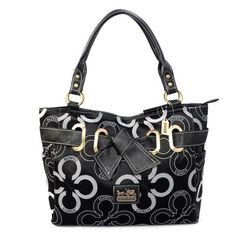 Coach Bowknot In Monogram Medium Black Totes EJK Give You The Best feeling!