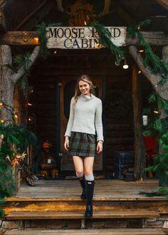 plaid skirt + sweater + hunter boots