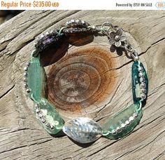 FALL SALE Bohemian Ancient Roman Glass Bracelet. Boho, Rustic, Primitive, Earthy, Raw, Organic, Gypsy. Hill Tribe Silver. Welcome Spring. - pinned by pin4etsy.com
