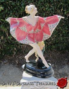 """Gorgeous Large Art Deco Goldscheider """"Captured Bird"""" Figurine!"""