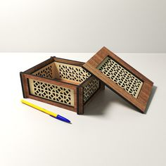 Laser Cutter Ideas, Laser Cutter Projects, Gift Boxes With Lids, Box With Lid, Laser Cut Box, Laser Cutting, Star Stencil, Laser Cut Files, Puzzle Box