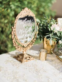 Bella Table Mirror for a Hummingbird Nest Ranch Wedding. Photo by Honey Honey Photography.