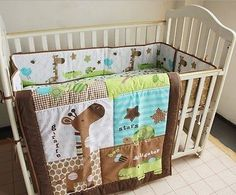 Baby Nursery Crib Bedding Set Cot Jungle Christmas Winter Warm Gift 4pcs tour de lit