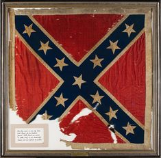 General J.E.B. Stuart's personal Army of Northern Virginia battle flag. In December 2006, this flag, sewn by Flora Stuart, was sold in a Heritage Auction for a world-record price for any Confederate flag, for $956,000 (including buyer's premium). The 34-inch by 34-inch flag was hand-sewn for Stuart by Flora in 1862 and Stuart carried it into some of his most famous battles. However, in December of that year it fell from a tent front into a campfire and was damaged.