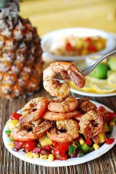 Southwestern shrimp with pineapple salsa | Seafood, shellfish, gluten free, healthy, low calorie, low carb, full of vegetables, suitable for vegetarians | by JuliasAlbum.com, via Flickr