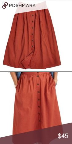 ee576cd40 NWT MADEWELL Palisade midi skirt button down 8 NWT Madewell Palisade midi  skirt. Button down