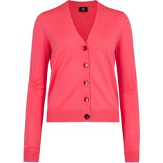 Ps By Paul Smith Bright pink merino wool cardigan ($200) ❤ liked on Polyvore featuring tops, cardigans, red top, ruched tops, bright pink cardigan, merino cardigan and red ruched top