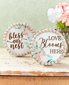 Floral Sentiment Plaques|LTD Commodities Ltd Commodities, Lakeside Collection, Muted Colors, Cottage Chic, Accent Decor, Floral Design, Bloom, Carving, Prints
