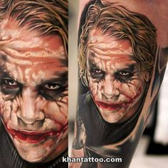 Heath Ledger as the 'Joker' by the always amazing Cover Up Tattoos, Leg Tattoos, Tattoos For Guys, Cool Tattoos, Tatoos, Awesome Tattoos, Picture Tattoos, Batman Joker Tattoo, Joker Tattoos