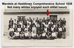 Earliest known image of Nelson Mandela (back row, fifth from right) at Healdtown Comprehensive School Black African American, African American History, First Black President, Poster Boys, Role Player, Black Presidents, Black History Facts, History Photos, Nelson Mandela