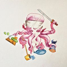 Sushi master - pencils #tattoo #tatouage #flash #octopus #poulpe #flashtattoo #tattooflash #illustration pencils #colors #japanese #cartoon #seafood #jap #chef #master #sushi #cook #cooking #qwizapp