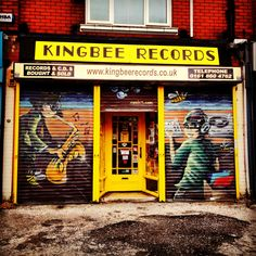 Kingbee Records in Chorlton, Manchester. Framed Records, Vinyl Records, Manchester Love, Music Explosion, Shop Signage, Shop Fronts, Modern City, Vinyls, Ghosts