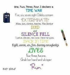 One, two, three, four Doctor Who rhyme