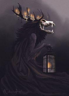 ArtStation - Wendigo, Rebecca FrödénYou can find Dark fantasy art and more on our website. Dark Creatures, Mythical Creatures Art, Fantasy Monster, Monster Art, Arte Horror, Horror Art, Dark Fantasy Art, Dark Art, Le Wendigo