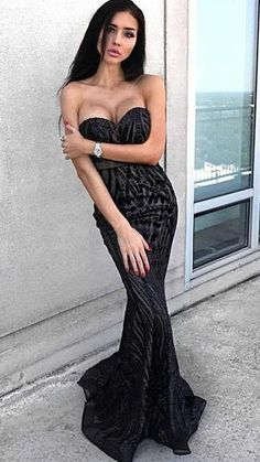 mermaid sweetheart black prom party dresses with beading d7369720eab3