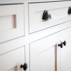 new white cabinets in new kitchen remodel Cabinet Companies, Custom Cabinets, White Cabinets, New Kitchen, Kitchen Remodel, Door Handles, Ceiling Lights, Design, Home Decor