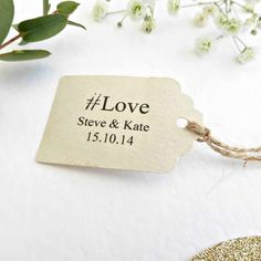 Using a hashtag for your wedding favour tag is a modern and fun idea. You could even coincide the hashtag on the favour with your own wedding hashtag to make sure guests know what to tag their pictures as on Instagram. This particular tag is a cute size and uses an adorable font and layout that even includes your name and wedding date!