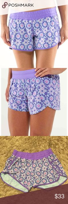 💜Lululemon Run Track Attack Shorts 💜 size 10 💜EUC 💜LULULEMON RUN TRACK ATTACK SHORTS IN TWIGGY PRINTED POWER PURPLE. They are lined in purple cute & handy side zip pocket. Worn 2xs. Like new condition  Size 10 lululemon athletica Shorts