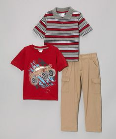 This Gray & Red Stripe Polo Set - Toddler & Boys is perfect! #zulilyfinds