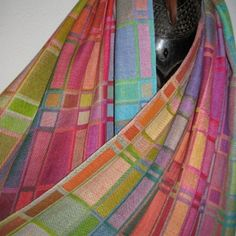 Handwoven Doubleweave Silk Shawl by Tisserande Weaving Patterns, Mosaic Patterns, Weaving Designs, Fabric Strips, Woven Fabric, Loom Weaving, Hand Weaving, Woven Scarves, Weaving Projects