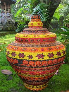Bali Beaded Basket - Shanti Seeds Of Bali