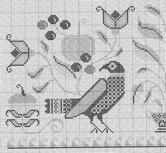 Cross Stitch Bird, Cross Stitch Alphabet, Cross Stitch Samplers, Cross Stitch Animals, Cross Stitch Charts, Cross Stitch Designs, Cross Stitching, Cross Stitch Patterns, Medieval Embroidery