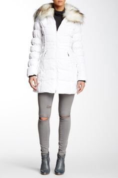 Faux Fur Trim Puffer Jacket by Laundry By Shelli Segal on @nordstrom_rack