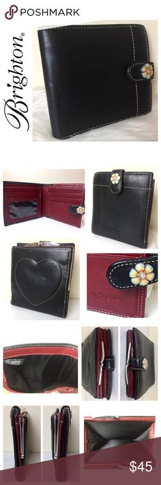 """Brighton Signature Leather Wallet Brighton Signature Leather Wallet in Classic Black with Beautiful White Stitching on Exterior and Elegant Deep Burgundy Leather with White Stitching on Interior, 1 Clear ID Slot, 4 Card Slots, 2 Larger Compartments behind the Card Slots, 1 Long Compartment for Bills, 1 Coin /Misc. Compartment with slight wear as shown in pics, 1 Snap Exterior Closure with Decorative Flower Hardware,  Approx. Size 4"""" x 4 1/2"""" Closed and 4"""" x 8 1/2"""" when Opened, Used in Good…"""