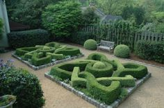 An English knot garden at Bill and Mary Wayne Dixon's home
