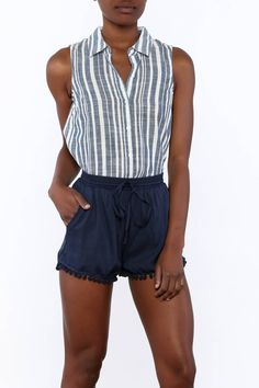 fa83d8b7b66f8 Lightweight sleeveless stripe top. Single pleat at the back and frayed hem.  Corrie Button. Shoptiques