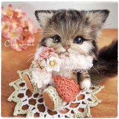 Needle felted kitten by citona2