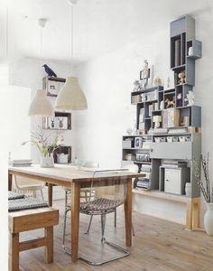Clever DIY Display Unit + Lovely Dutch Home via interior design Decoration Inspiration, Interior Inspiration, Shelf Inspiration, Decor Ideas, Sweet Home, Cool Shelves, Diy Shelving, Shelving Display, Turquoise Cabinets