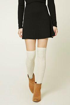 A pair of adjustable ribbed knit knee-high socks featuring ribbed cuffs.