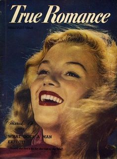 True Romance - March 1952, magazine from Australia. Front cover photo of Marilyn Monroe by John Miehle, 1947.