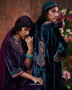 #GoodEarthSustain #SchezadeMinaBazaar #Festive #Diwali2018 Velvet Dress Designs, Fashion Editorial Makeup, Pattern Draping, Eastern Dresses, Velvet Suit, Stylish Clothes For Women, Velvet Fashion, Party Wear Dresses, Pakistani Dresses
