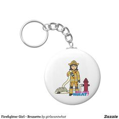 Firefighter Girl - Brunette Basic Round Button Keychain