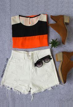 Black Orange Cap Sleeve Dip Hem T-shirt.  BUY 1 GET 1 50% OFF
