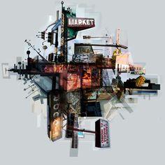 Jon Measures City Collage, Collage Art, Architecture Exam, Architecture Collage, Building Drawing, A Level Art, Urban Sketching, Built Environment, Landscape Illustration