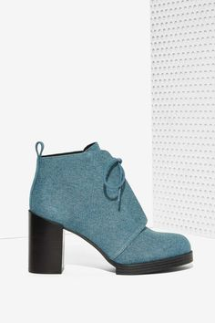 Cheap Monday Layer Laced Bootie - Denim - Shoes | Heels | Cheap Monday