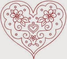 Redwork Embroidery valentine heart - would be pretty as red work embroidery. Embroidery Hearts, Hand Embroidery Patterns, Vintage Embroidery, Embroidery Applique, Cross Stitch Embroidery, Machine Embroidery Designs, Red Work Embroidery, Embroidery Thread, Mundo Hippie