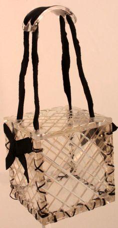 1940's Clear lucite bag square box purse