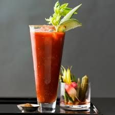Emily's Bloody Mary Mix: 40 0z. tomato juice, 40 oz. V8, 8 oz. veggie broth, 6 oz. lemon juice, 5 tsp. celery salt, 2 tsp. tabasco, 5 tsp Pickapeppa Sauce, 2 tsp pepper,4 tsp horseradish. Mix together-makes 1 gallon.