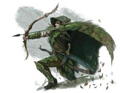 Elf Archer Ranger (Leaf armour)- The standard armour for elves. Leaf hood, and cloak, leaf chest plate, outer, and inner shirt, scale arm braces, leaf arm guard, and strings, plate thighs, shin guards, pants, slippers; accompanied with a curved golden dagger, and curved sword. Skills: Nature, Stealth, Endurance, Health. by- William O'Connor is an American fantasy artist who has contributed illustrations for a number of 4th edition Dungeons & Dragons publications, including the Player's…