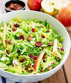 Shaved Brussels Sprouts Salad with Cranberries, Apples and Pecans