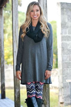 High Hopes Charcoal Gray Tunic Dress Top Shop Simply Me Boutique – Simply Me Boutique