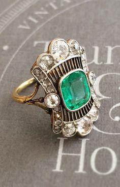 Antique Emerald + Diamond Ring